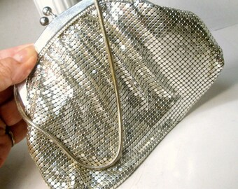 Whiting & Davis Style SILVER Snake Scale Mesh Evening Bag, 1960s Alpha Co, West Germany, Vintage Wrist Purse