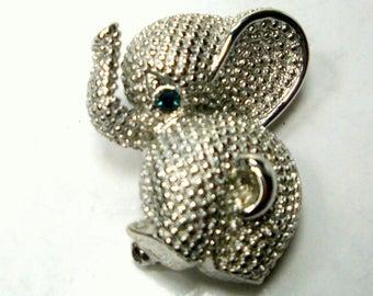 BUTT What.... Cute Baby Elephant Pin, Trunk Up 4 Good Luck, Slivertone Pachyderm brooch w a Blue Eye
