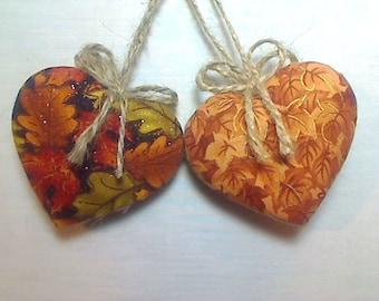 Fall Heart Ornaments | Fall Decor | Thanksgiving | Party Favors | Holidays | Folk Art | Handmade | Rustic Decor | Earth tones | Set/2 | #1