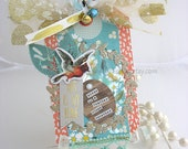 Birds of a Feather XL Deluxe Art Gift Tag~peach~pink~turquoise~gold~Valentine~house warming~hang tags~pretty packaging