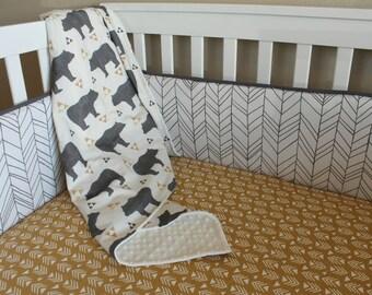 Crib Bumper - Herringbone in Charcoal Grey - Baby Boy Crib Bedding