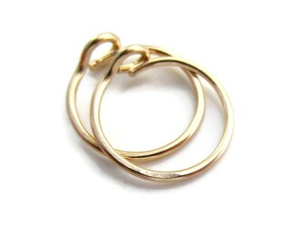 Gold Small Size Hoop Earrings with hook closure, 20Gauge 9mm
