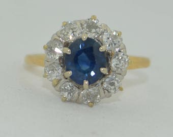 Art Deco 14K Yellow and White Gold Sapphire and Diamond Halo Ring