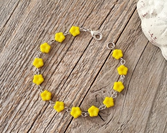 Yellow jewelry, yellow bracelet, yellow bracelets, yellow flower, endometriosis awareness jewelry, yellow linked bracelet, flower jewelry