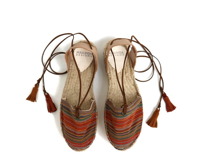 Featured listing image: Espadrille Sandals. Lace up Espadrilles in Orange. Boho Women's Sandals. Hippie Greek Sandals. Gift for Her