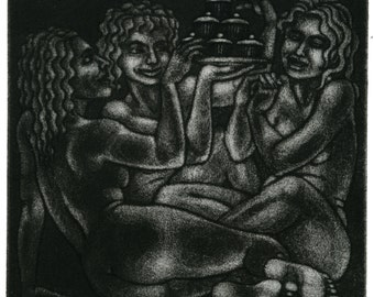 Original Etching - 'The Adoration of Cake' - female figures, nudes with cupcakes. Art by Nancy Farmer, black and white, monochrome, fantasy