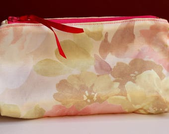 Cream and Beige Zippered Ditty Bag