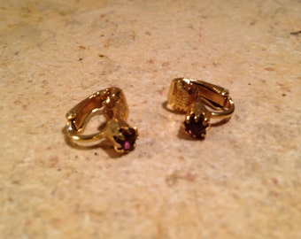 NEW Tiny Amethyst Goldtone Clip Earrings