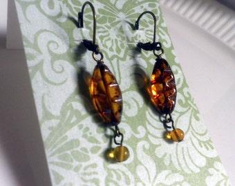 Amber Glass Earrings, pierced dangle