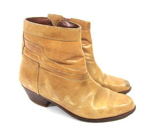 ankle booties / low heel / leather / 7.5