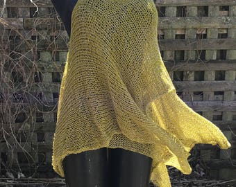 handknit tunic top, open weave, summmer sweater, beach coverup
