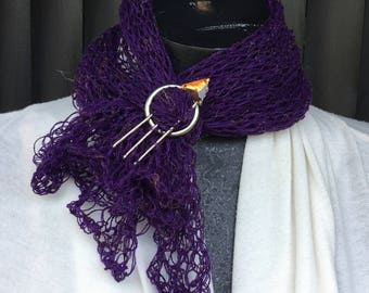 loose knit, purple  scarf, neck wrap, light weight scarf,summer scarf,summer neck wrap with custom pin