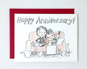 Happy (couch) Anniversary Greeting Card - love, valentines day, wedding