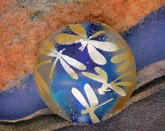 """Lampwork Beads SRA """"Sky Full of Dragonflies"""" Handmade Sandblasted Focal Lentil with Dichroic and Fine Silver Lustre"""