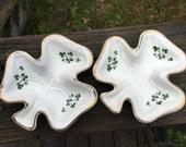 Vintage Pair Shamrock Trinket Trays--Carrigaline Pottery Co Ltd--Cork Ireland--Retro Barware--Irish Pottery