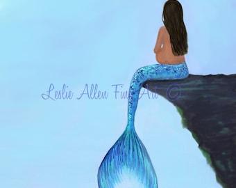 """Mermaid Art Mermaid Painting Pregnant Mermaid Nursery Art Decor Wall Art  Motherhood Babies Room """"Mermaids Little Bundle To Be"""" Leslie Allen"""