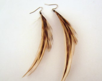 Real Feather Earrings  Red Chinchilla Short Natural
