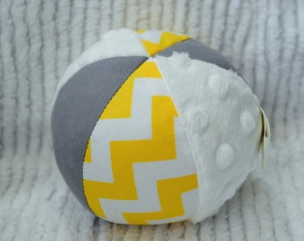 Yellow and Gray Chevron Jingle Ball Baby Toy with Minky