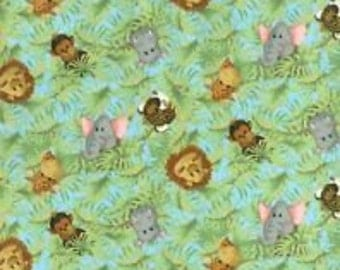 Jungle Babies Fabric with Adorable Animals by Fabric Traditions (by the yard)