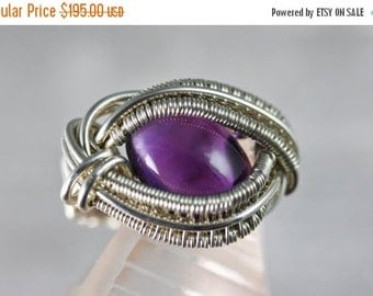 10% OFF HOLIDAY SALE Amethyst - Wire Wrapped Talisman Amulet Ring Unique Original Design by Philip Crow