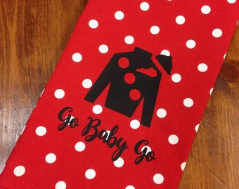 Red polka dot hand towel with black Jockey Silk, Kentucky Derby hand towel, Derby decor
