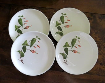 """Salem Primrose China 6"""" Plates, Bread and Butter, Dessert, Vintage Dinnerware, White with Red Flowers, Green Leaves"""