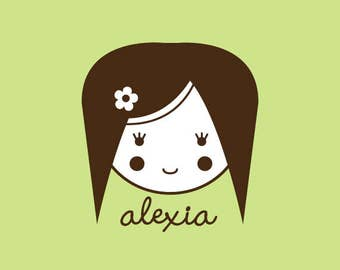 Custom Rubber Stamp   Custom Stamp   Personalized Stamp   Gifts for Her   Doll Stamp   Girl Stamp   Alexia   C317