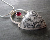 Pinolith Jasper Pendant with Lab Created Ruby in Sterling Silver