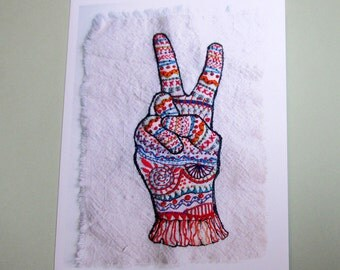 Four Peace Sign Colorful Greeting Cards
