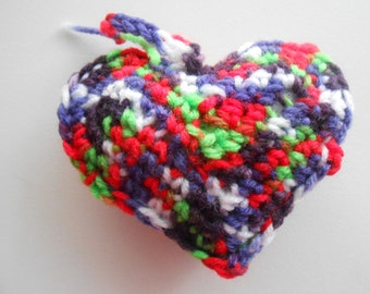Crochet Stuffed Heart Ornament Strawberry Fields
