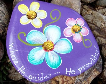 Hand Painted Idaho River Rock-Acrylic Original-Inspirational-Lavender-Yellow, Turquoise, Pink Daisies,Daisy, Paper Weight, Shelf sitter