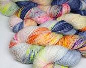 Hand Dyed  Speckled Sock Yarn - SW Sock 80/20 - Superwash Merino Nylon - 400 yards  - Chasing Rabbits