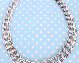 Vintage Bold Silvertone Double Link Chain Statement Necklace NOS New Old Stock