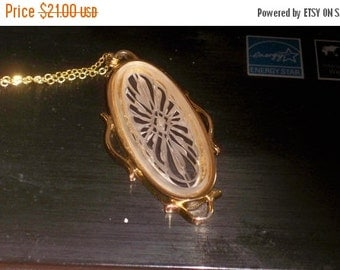 SALE Vintage Carved like Glass or Plastic Necklace Pendant