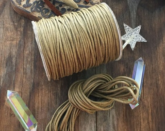 Wheat, 2.5mm Woven Cotton Cord, bundle of 25 feet, Brown / Jewelry Cording, Thick thread, Macrame, DIY, Jewelry Making Supplies