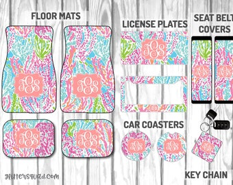 Lets Cha Cha Inspired by Lilly Pulitzer Car Mat / Car mat Monogram / Car Accessory Gift  Set