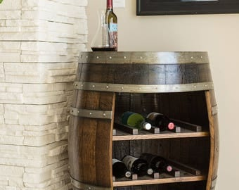 Wine Barrel Cabinet, Dark Walnut Finish