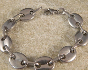 Men's Stainless Steel Oval Link Bracelet