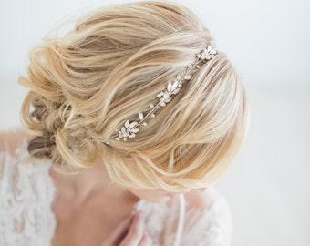 Wedding Hair Vine,  Gold Bridal Headpiece, Bridal Headband, Wedding Hairpiece, Crystal Hair Vine