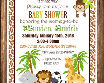 Jungle Safari Baby Shower Invitations, Printable Safari Invitations, Jungle Animals, Neutral Baby Shower, Digital Invitations
