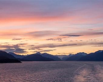 Alaska Sunet, Alaska's Inside Passage Panorama Print - 10x20 Landscape Photo Print