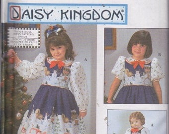 "Simplicity 0677 Girl's Dress and Pinafore and Doll Dress for 18"" Doll Sizes 3-8 Daisy KIngdom UNCUT Pattern"
