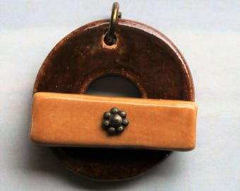 Brown and Tan Toggle Clasp - Jewelry Clasp - Large Ceramic Circle Focal Toggle Clasp - Pottery Clasp - Clay Clasp