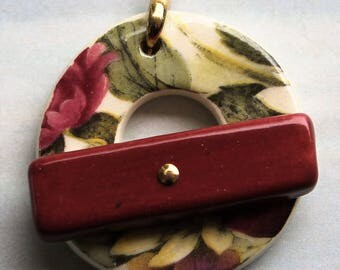 Fall Flowers Toggle Clasp - Jewelry Clasp - Large Ceramic Circle Focal Toggle Clasp - Pottery Clasp - Clay Clasp