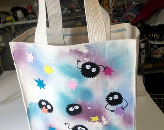 Soot Sprite Canvas Shopping Tote bag. hand painted