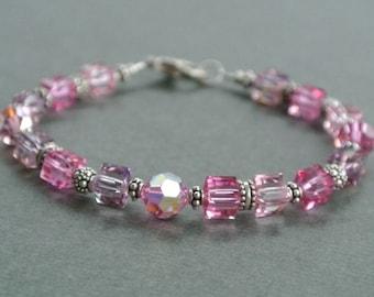 Shades of Pink-Swarovski Crystals-Bali-Turkish Silver Bracelet-Pink Bracelet