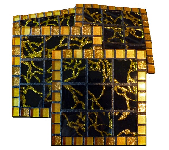 Mosaic Glass Coasters with Glitter Tiles and Recycled Glass Tiles in Black and Gold Set of 4 Ready to Ship