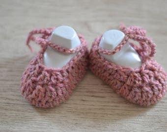 Newborn Ballerina Dusky Pink Crochet Baby Shoes