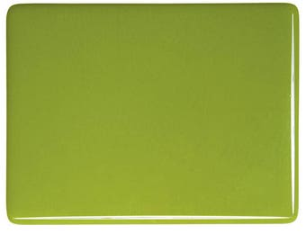 Pea Pod Green Opalescent Glass 90 COE 3mm Bullseye Sheet Large Pieces
