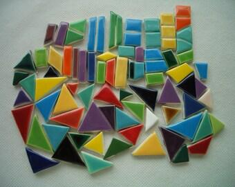 80TB - CHICKLETS - 80 pcs - Fun, COLORFUL Tiny Tiles - Ceramic Mosaic Tiles